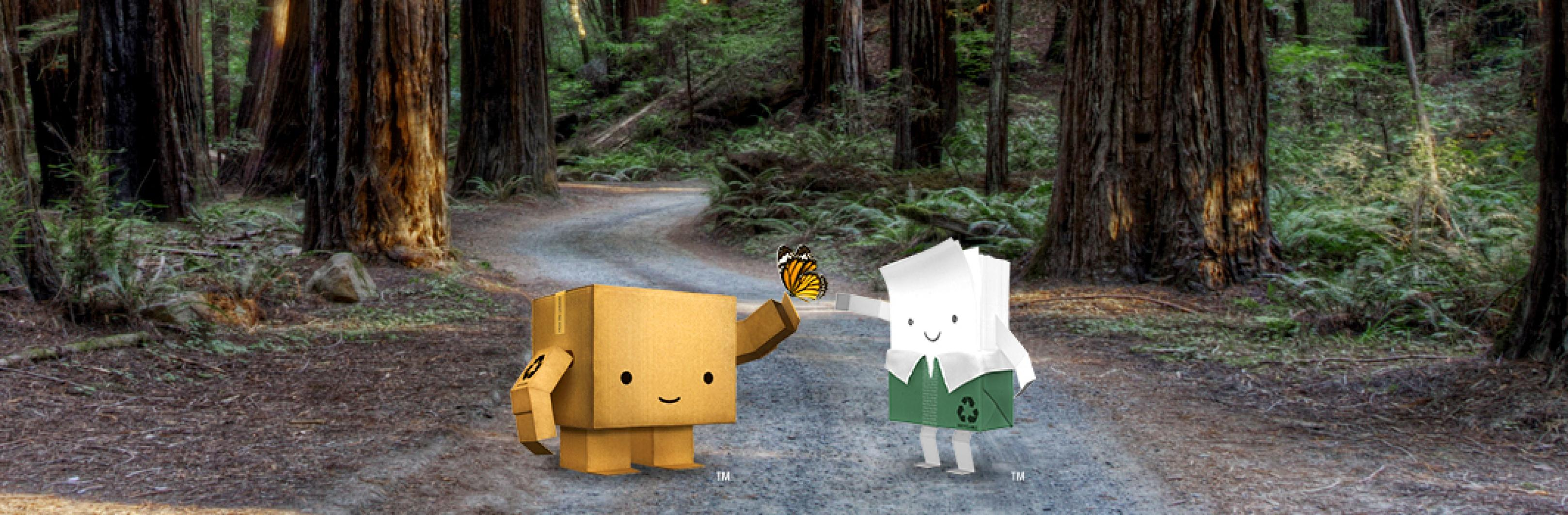 Paper and packaging characters in the forest